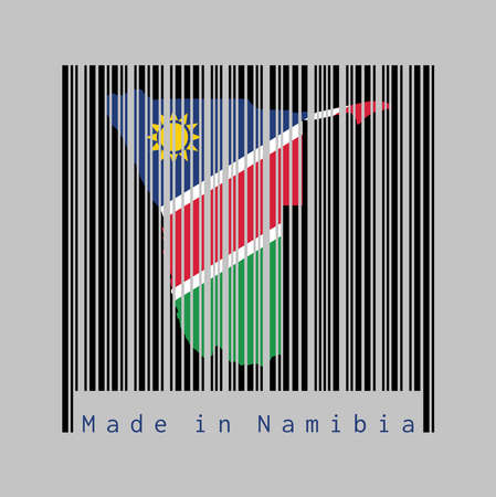 Barcode set the shape to Namibia map outline and the color of Namibia flag on black barcode with grey background, text: Made in Namibia. concept of sale or business.
