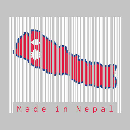 Barcode set the shape to Nepal map outline and the color of Nepal flag on white barcode with grey background, text: Made in Nepal. concept of sale or business. Illustration