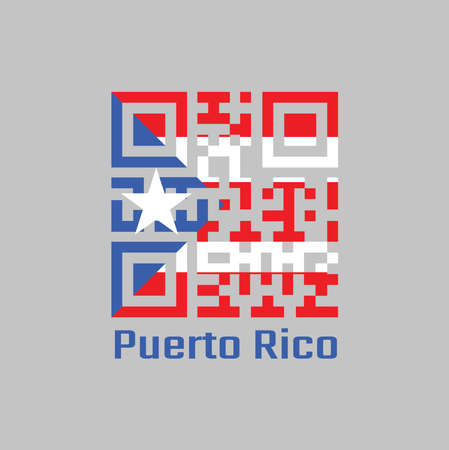 QR code set the color of Puerto Rico flag, horizontal white and red bands with isosceles triangle based on the hoist side and white star, concept of sale or business. Vetores