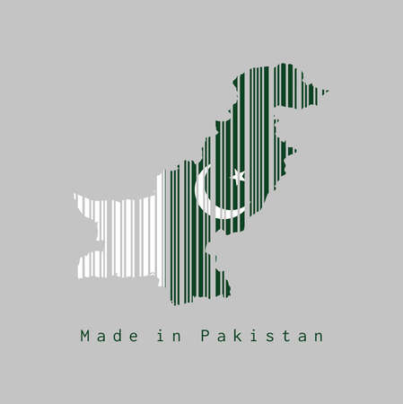 Barcode set the shape to Pakistan map outline and the color of Pakistan flag on grey background, text: Made in Pakistan. concept of sale or business. Ilustração