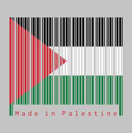 Barcode set the color of Palestine flag, a horizontal tricolor of black, white, and green; with a red triangle based at the hoist. text: Made in Palestine, concept of sale or business.