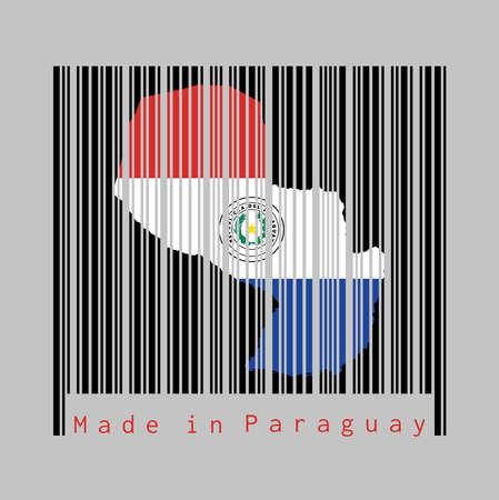 Barcode set the shape to Paraguay map outline and the color of Paraguay flag on black barcode with grey background, text: Made in Paraguay. concept of sale or business.