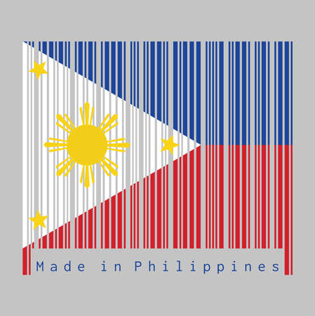 Barcode set the color of Philippines flag, a horizontal blue and red; white equilateral triangle based at the hoist, gold stars at its vertices, and gold sun at center. text: Made in Philippines.