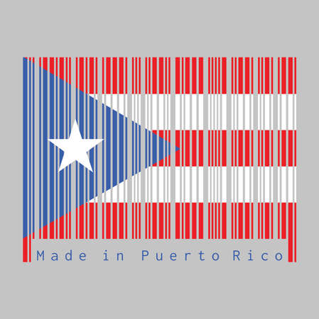 Barcode set the color of Puerto Rico flag, horizontal white and red bands with isosceles triangle based on the hoist side and white star. text: Made in Puerto Rico. Vetores