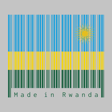 Barcode set the color of Rwanda flag, A horizontal tricolor of blue yellow and green with a yellow sun in the upper corner. text: Made in Rwanda, concept of sale or business.