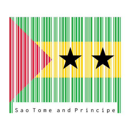 Barcode set the color of Sao Tome and Principe, green yellow and green with a red triangle and two black stars. text: Made in Sao Tome and Principe. Ilustração