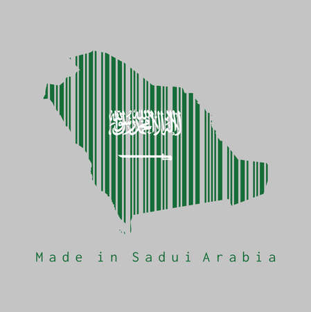 Barcode set the shape to Saudi Arabia map outline and the color of Saudi Arabia flag on grey background, text: Made in Saudi Arabia. concept of sale or business. Banco de Imagens - 116420107