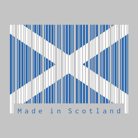 Barcode set the color of Scotland flag, it is a blue field with a white diagonal cross that extends to the corners. text: Made in Scotland, concept of sale or business. Illustration