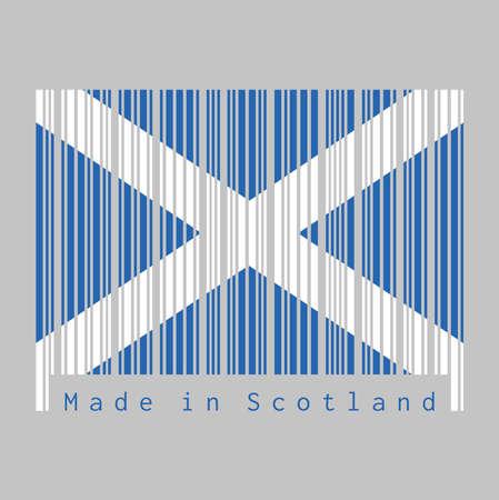 Le code-barres définit la couleur du drapeau de l'Écosse, c'est un champ bleu avec une croix diagonale blanche qui s'étend jusqu'aux coins. texte: Fabriqué en Ecosse, concept de vente ou d'entreprise.