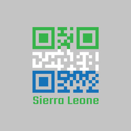 QR code set the color of Sierra leone flag, A horizontal tricolor of light green, white and light blue. text: Sierra leone.