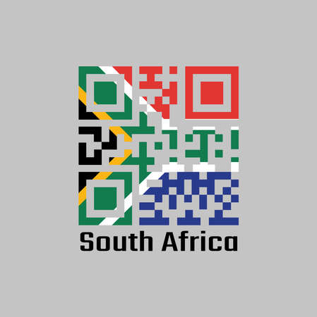 QR code set the color of South African flag, red and blue with a black triangle, white and green horizontal Y and gold against the triangle. text: South Africa. Illustration