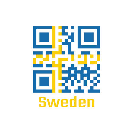 QR code set the color of Swedish flag, it is consists of a yellow or gold Nordic Cross on a field of blue. text: Made in Sweden.