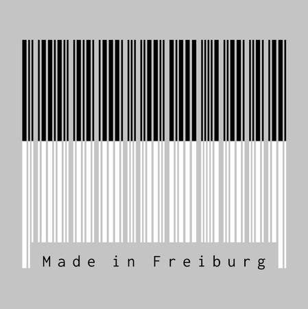 Barcode set the color of Freiburg flag, The canton of Switzerland with text Made in Freiburg. concept of sale or business.