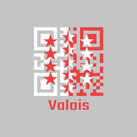 QR code set the color of Wallis flag, The canton of Switzerland with text Valais.