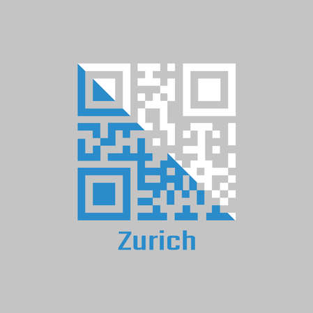 QR code set the color of Zurich flag, The canton of Switzerland with text Zurich.