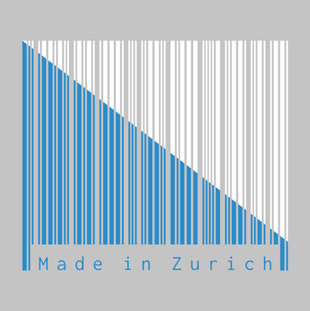 Barcode set the color of Zurich flag, The canton of Switzerland with text Made in Zurich. concept of sale or business. Illustration