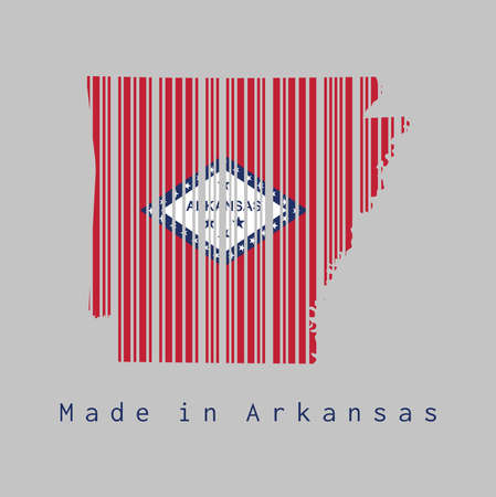 Barcode set the shape to Arkansas map outline and the color of Arkansas flag on grey background, text: Made in Arkansas. The states of America, concept of sale or business.