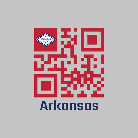 QR code set the color of red and Arkansas flag on the top corner. The states of America. with text Arkansas.
