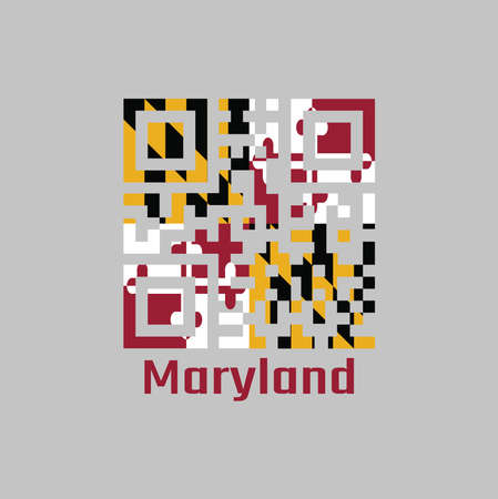 QR code set the color of Maryland flag. The states of America, Heraldic banner of George Calvert, 1st Baron Baltimore. with text Maryland.