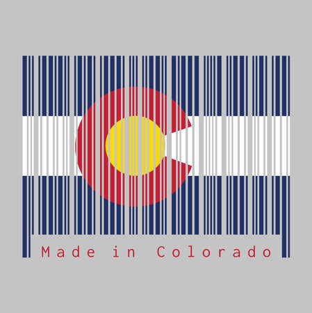 Barcode set the color of Colorado flag, Three horizontal stripes of blue white and blue. a circular red Illustration