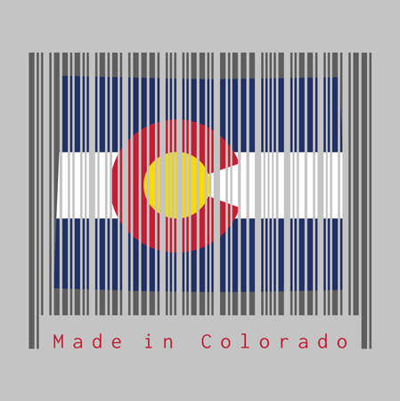Barcode set the shape to Colorado map outline and the color of Colorado flag on dark grey barcode with grey background, text: Made in Colorado. The states of America, concept of sale or business.