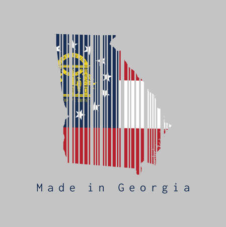 Barcode set the shape to Georgia map outline and the color of Georgia flag on grey background, text: Made in Georgia. The states of America, concept of sale or business.