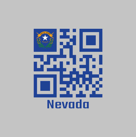 QR code set the color of Nevada flag. Solid cobalt blue field and coats of arm on the canton with text Nevada.