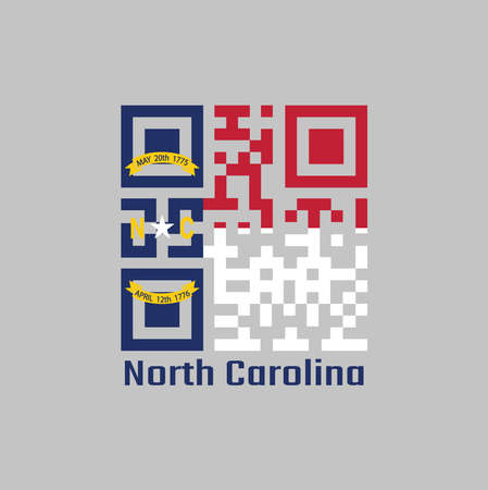 QR code set the color of North Carolina flag. A blue union, a white star with N and C, the circle containing the same to be one-third the width of the union with text North Carolina. Illustration