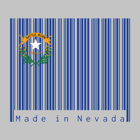 Barcode set the color of Nevada flag, Solid cobalt blue field and coats of arm on the canton, text: Made in Nevada. The states of America, concept of sale or business. Illustration