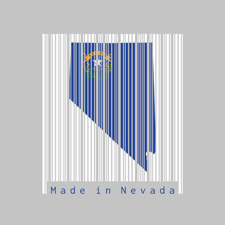 Barcode set the shape to Nevada map outline and the color of Nevada flag on white barcode with grey background, text: Made in Nevada. The states of America. concept of sale or business.