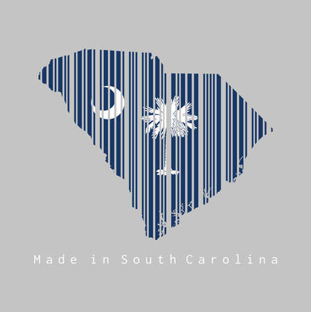 Barcode set the shape to South Carolina map outline and the color of South Carolina flag on grey background, text: Made in South Carolina. The states of America. 向量圖像