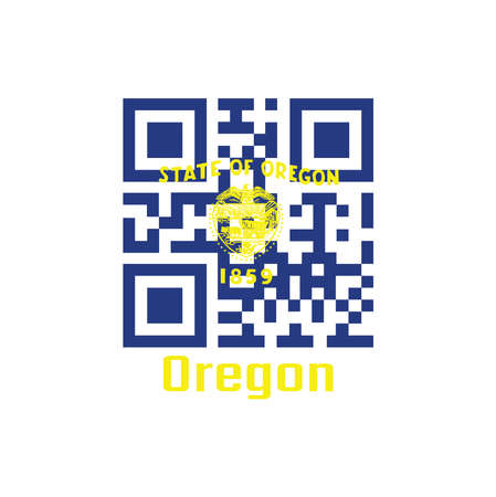 QR code set the color of Oregon flag. The states of America. Seal of Oregon in gold on an azure field. Above the seal the text State of Oregon with text Oregon.