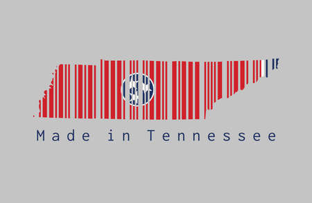 Barcode set the shape to Tennessee map outline and the color of Tennessee flag on grey background, text: Made in Tennessee. The states of America.