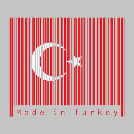 Barcode set the color of Turkey flag, a red field with a white star and crescent slightly left of center. text: Made in Turkey, concept of sale or business.