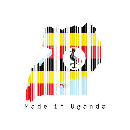 Barcode set the shape to Uganda map outline and the color of Uganda flag on white background, text: Made in Uganda. concept of sale or business. Illustration