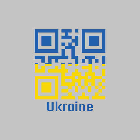 QR code set the color of Ukraine flag. it is a banner of two equally sized horizontal bands of blue and yellow with text Ukraine.