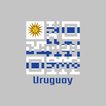 QR code set the color of Uruguay flag. horizontal stripes of white alternate with light blue and the Sun of May with text Uruguay.