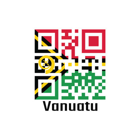 QR code set the color of Vanuatu flag. red and green with black and yellow color boar's tusk encircling two crossed fern fronds in the center and the golden pall with text Vanuatu.