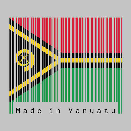 Barcode set the color of Vanuatu flag, red and green with black and yellow color boar's tusk encircling two crossed fern fronds in the center and the golden pall. text: Made in Vanuatu.