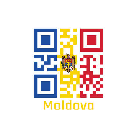 QR code set the color of Moldova flag. vertical tricolor of blue yellow and red with the Coat of Arms on center with text Moldova. Illustration