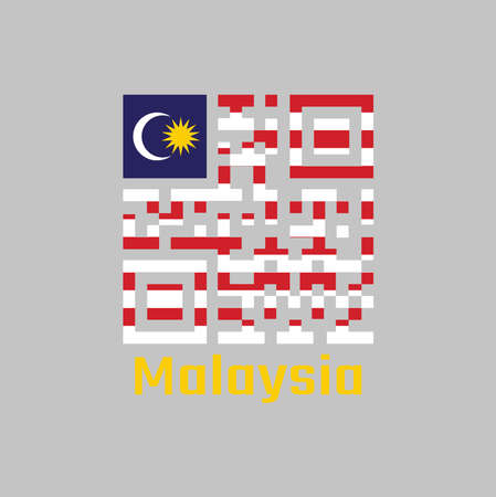QR code set the color of Malaysian flag. in blue red white and yellow color with yellow star and white Crescent moon with text Malaysia. 일러스트