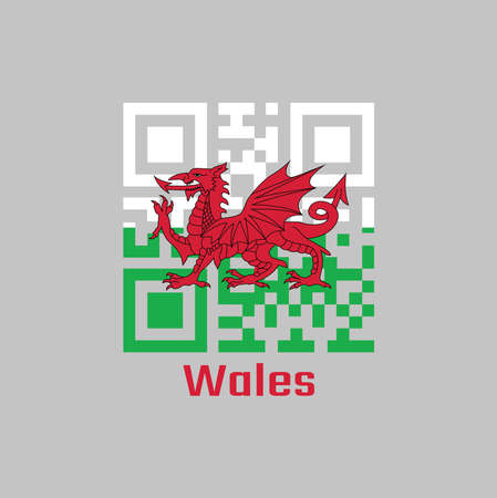 QR code set the color of Wales flag. consists of a red dragon passant on a green and white field with text Wales. Иллюстрация