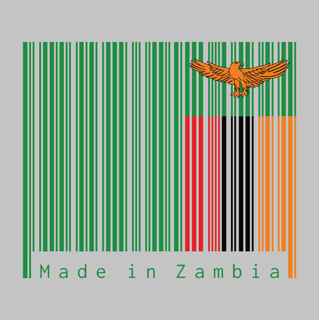 Barcode set the color of Zambia flag, A green field with an orange colored eagle in flight over a rectangular block of red black and orange. text: Made in Zambia.