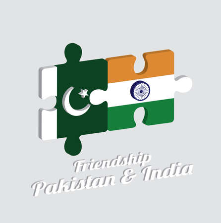 Jigsaw puzzle 3D of Pakistan flag and India flag with text: Friendship Pakistan & India. Concept of Friendly or good compatibility between both countries.