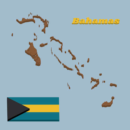 3D Map outline and flag of Bahamas, a horizontal triband of aquamarine (top and bottom) and gold with the black chevron aligned to the hoist-side, text Bahamas.
