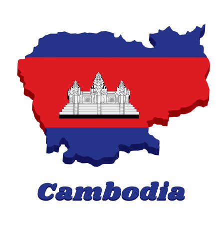 3D Map outline and flag of Cambodian in blue red and white color with black line of Angkor wat and text Cambodia.