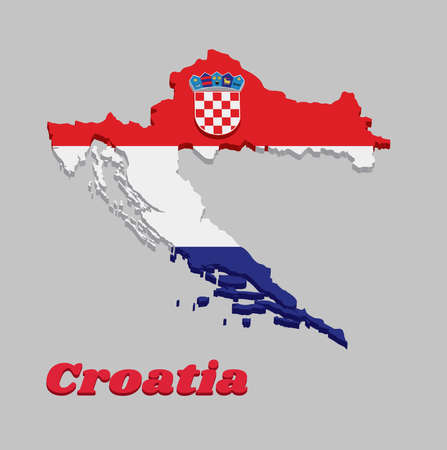3D Map outline and flag of Croatia, it is a horizontal tricolor of red, white, and blue with the Coat of Arms of Croatia in the centre. with text Croatia. Vektorgrafik