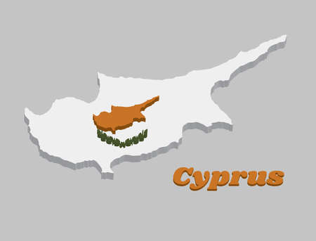 3D Map outline and flag of Cyprus,  an outline of the country of Cyprus above twin olive branches on a white field. with name text Cyprus.