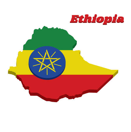 3D Map outline and flag of Ethiopia, a horizontal tricolor of green yellow and red with the National Emblem superimposed at the center. with name text Ethiopia.  イラスト・ベクター素材