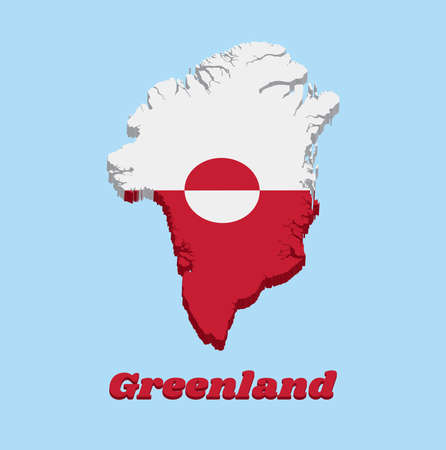 3D Map outline and flag of Greenland, A horizontal bicolor of white and red, with a counterchanged disk slightly off-centre towards the hoist, with text Greenland.